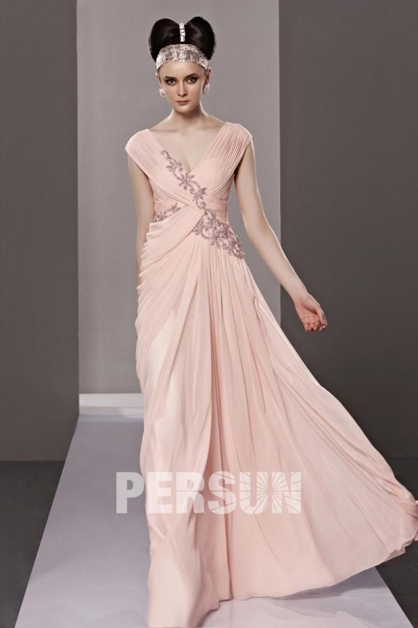 Robe rose chic enveloppe ruchée mousseline ornée de strass – Persun.fr 89958b472b4a