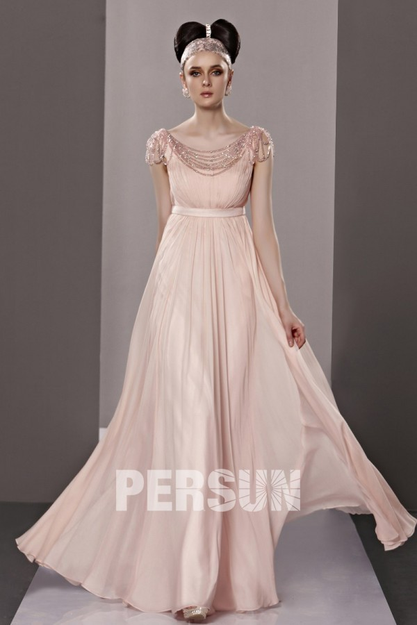 Robe longue chic dos ouvert empire mousseline rose – Persun.fr 5ae085b6182c