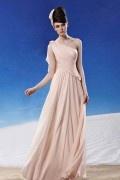 Robe soirée chic mousseline rose pâle drapée asymétrique
