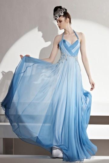 Féerique Robe longue avec bretelle autour du cou tencel bleue