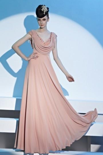 Robe rose chic col drapé empire à franges en mousseline