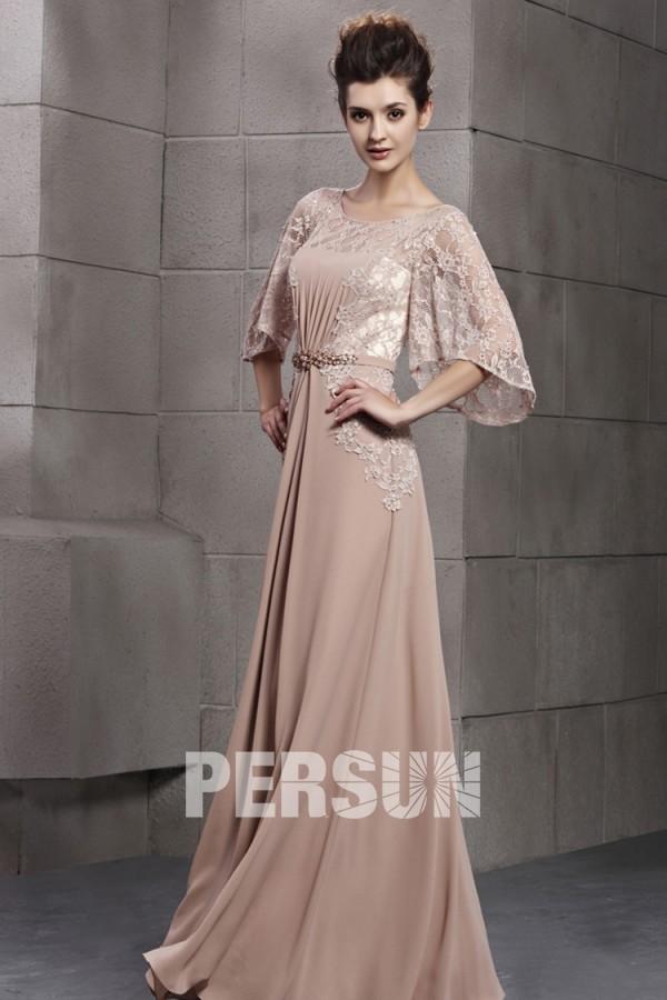 robe mère de mariée longue haut dentelle à manche évasée