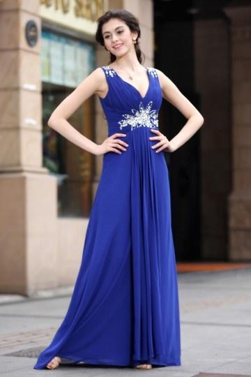 Robe bleue de soirée sexy col en V plissée Empire en mousseline