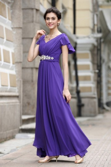 Robe violette soirée encolure en V à manche courte