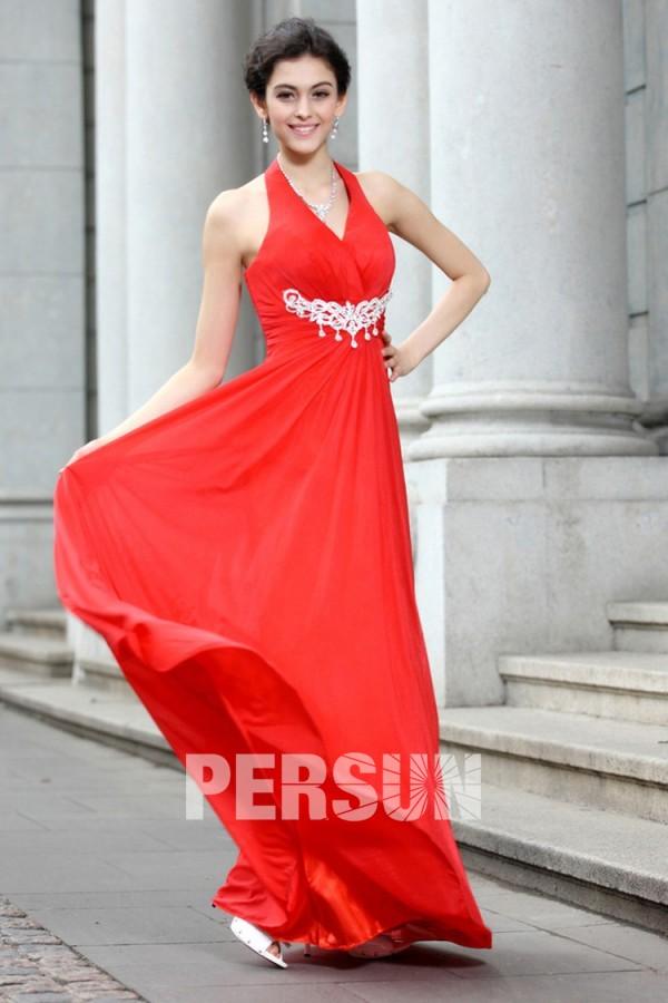 Rétro Robe habillée col halter longue empire mousseline rouge