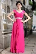 Elegantes A-Linie V Ausschnitt Cup Ärmel bodenlanges Abendkleid