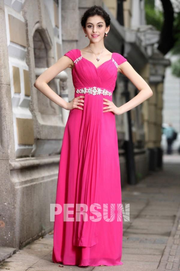 Elégante robe de soirée rose bonbon plissée à mancherons