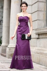 Robe bustier violette fourreau en satin longue et simple