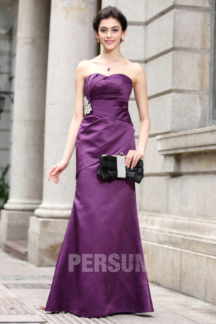 Robe bustier violette fourreau en satin longue et simple