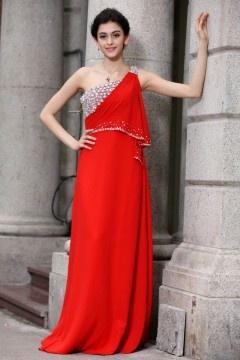 Robe rouge splendide asymétrique bustier ornée de bijoux