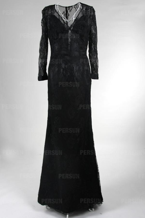 Robe en dentelle Cara Delevingne sexy à manche longue ajourée