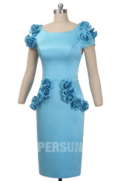 Robe de cocktail fleurie satin turquoise
