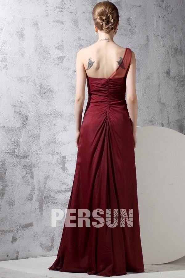 Robe de soirée bordeaux asymétrique bustier plissée & bijoutée mousseline
