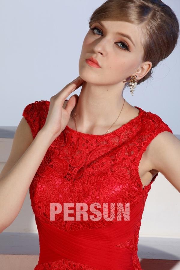 Robe rouge habillée longue en dentelle vintage à mancherons