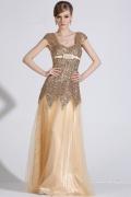Elegant Gold Bodenlang A Linie Tüll Abendkleid mit Sequins verziert
