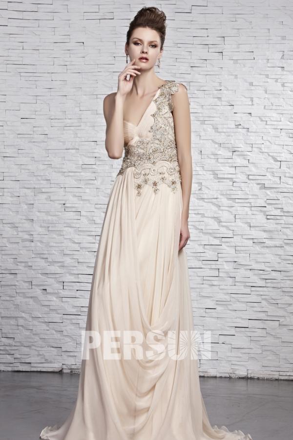 dcb2099513aa Robe empire ligne-A à appliques dentelle drapée en mousseline champagne -  Persun.fr