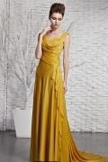 Robe dorée col drapé ligne-A en satin soyeux ruchée
