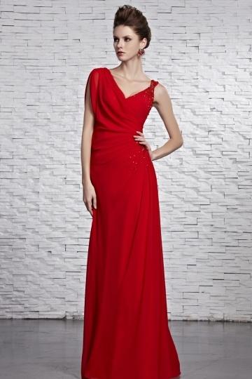 Robe soirée rouge chic col V ornée de perles en mousseline