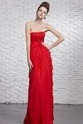 Sexy rotes langes Etui-Linie Chiffon Trägerloses Abendkleider