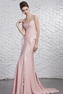 Robe rose chic sirène dentelle en mousseline au ras du sol