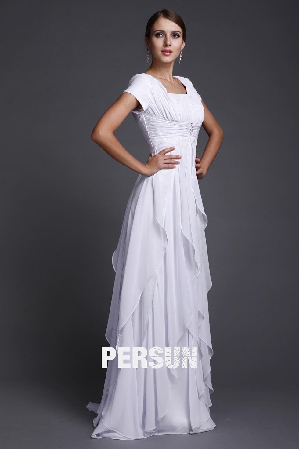 robe plissée longue à manche courte & jupe volants