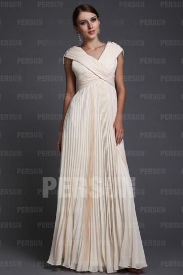 Robe de gala longue empire avec jupe plissée col V bretelles croisées