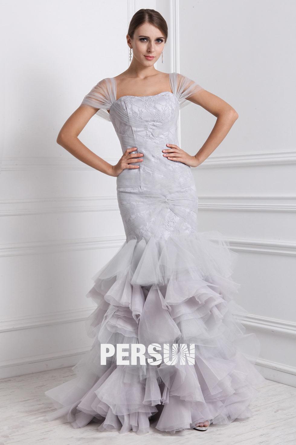 robe de mariée sirène manches courte transparente jupe à volant
