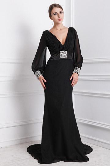 Sexy Robe noire de soirée col en V profond ornée de bijoux