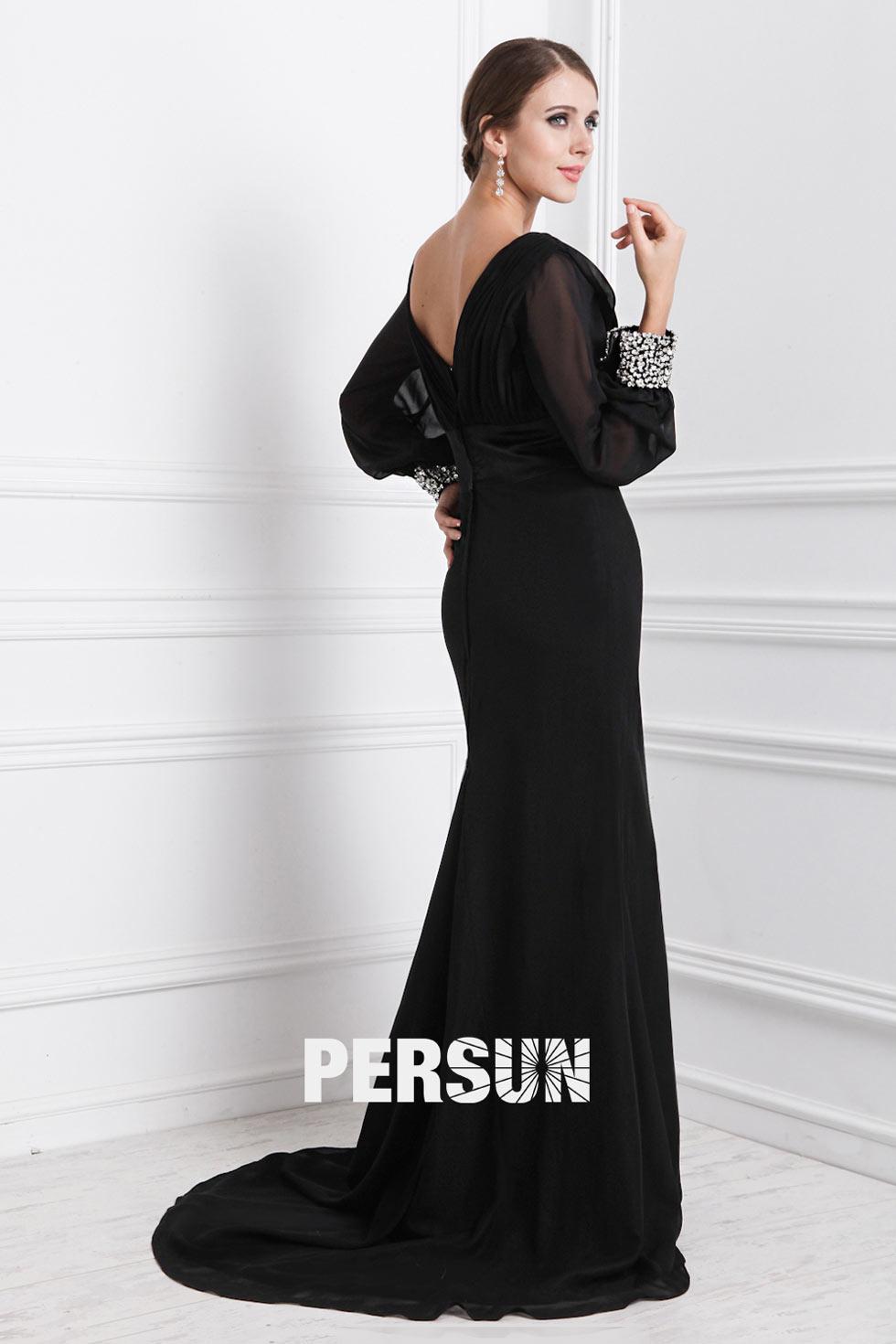 tenue femme noire robe soirée col V avec manches longues