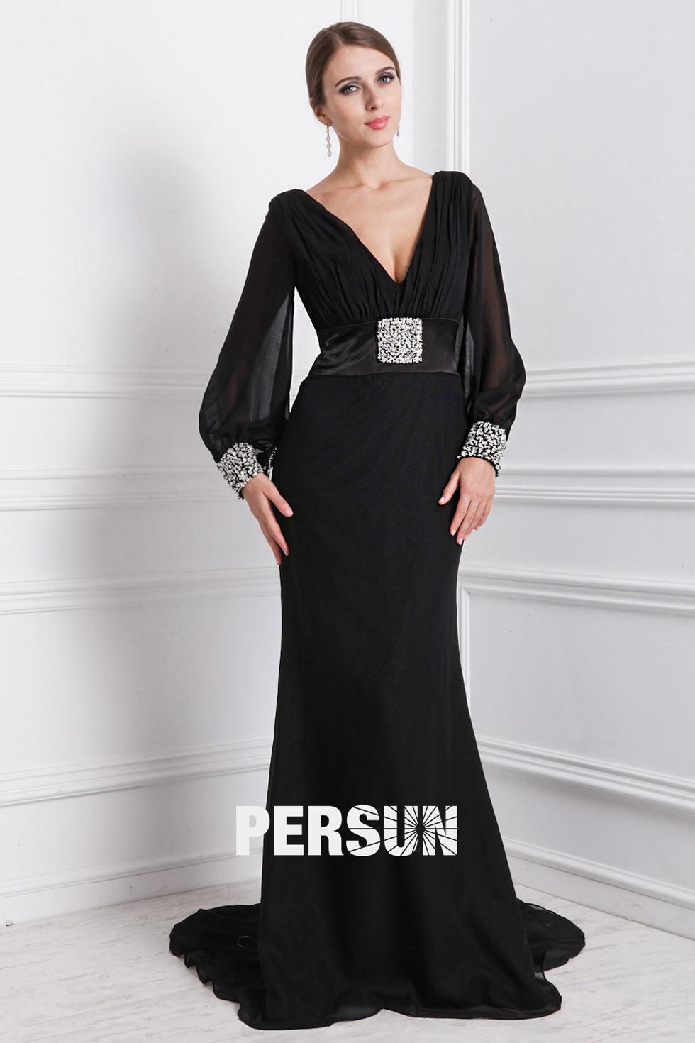 robe de soirée longue noire pour mère du marié