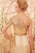 Prächtiges Ein Schulter Paillette Applikation langes Abendkleid