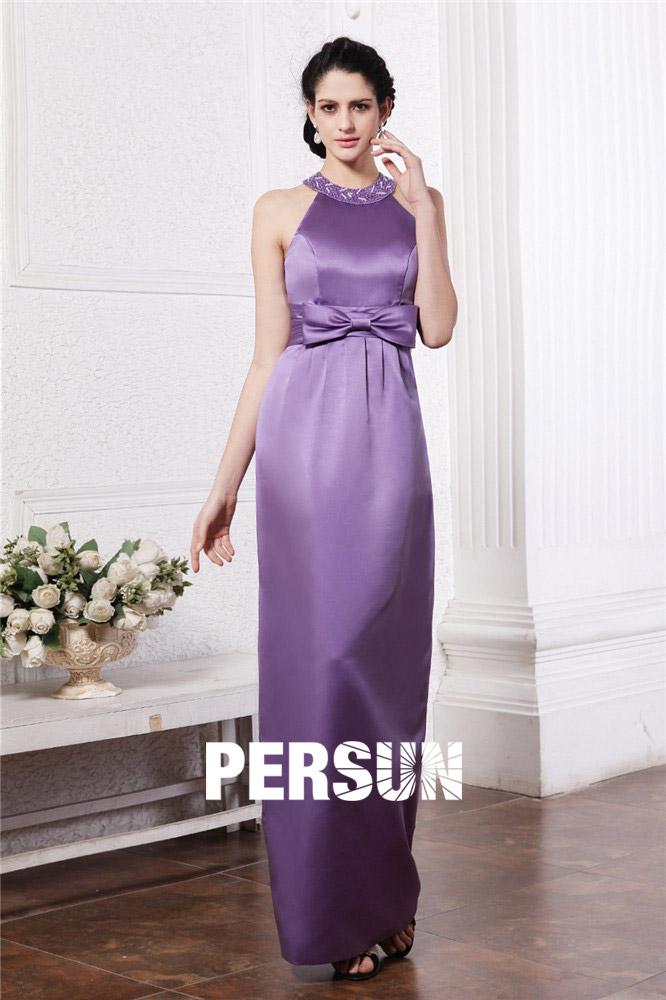 robe de soirée longue fourreau violette col halter embelli de strass taille embelli de noeud papillon