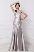 Sexy One Shoulder Gray Tone Ruffles Beading Formal Evening Dress