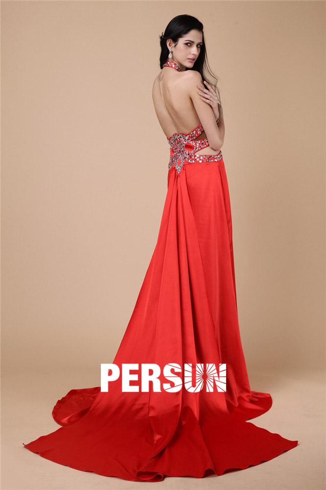 Robe habillée rouge longue ornée de strass à dos nu