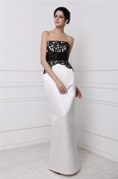 Robe noire et blanche à bustier droite pour invitée mariage