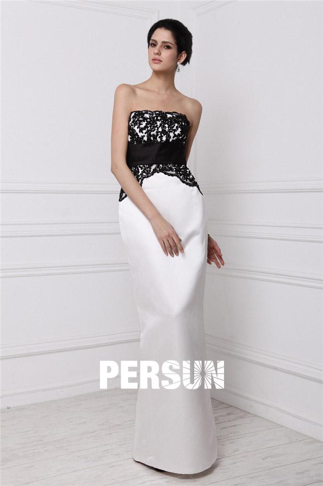 01090ccbc16e8 Robe noire et blanche à bustier droite pour invitée mariage - Persun.fr