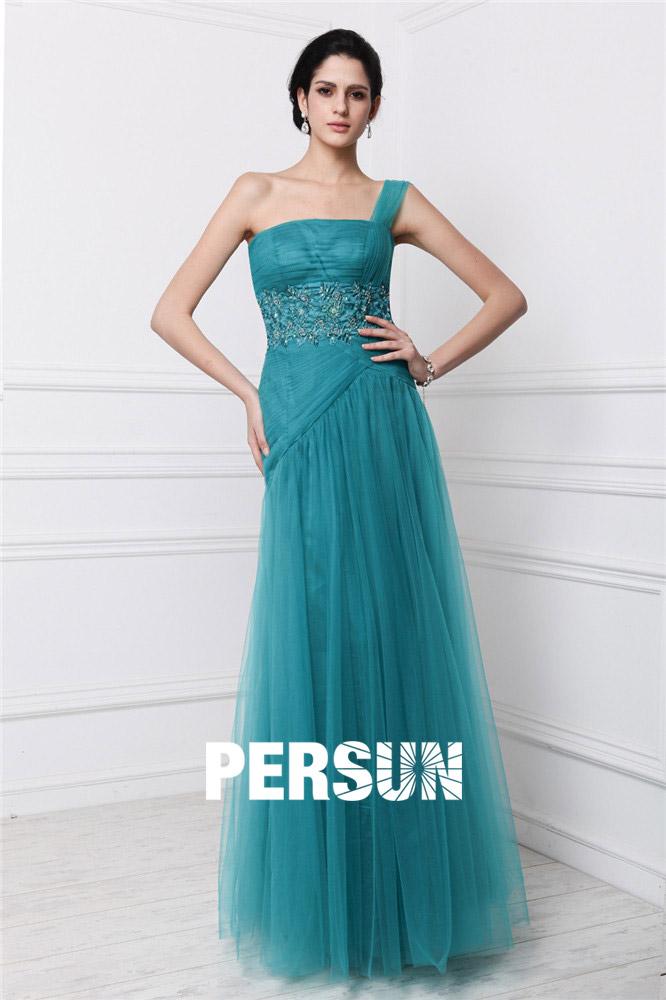robe de soirée asymétrique longue verte bustier droit taille embelli de dentelle appliquée