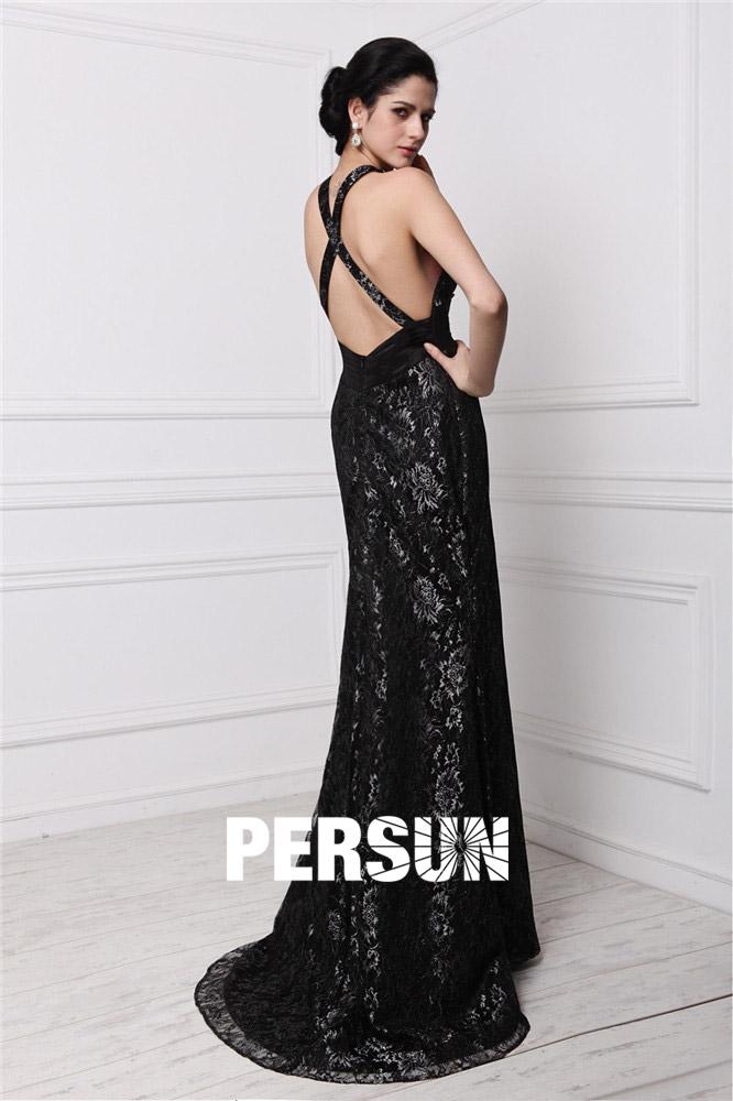sexy robe de soirée noire moulante en dentelle florale avec bretelle croisée au dos