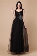 Elegantes Schwarz Träger A Linie Bodenlang Abendkleid aus Tüll