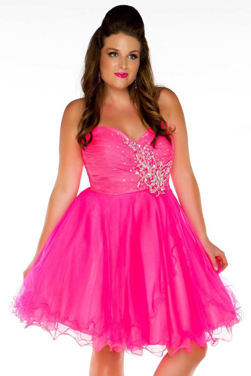Petite robe de bal bustier coeur en fuchsia