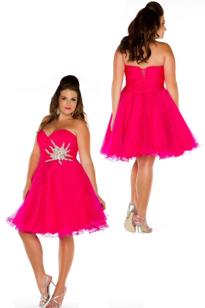 robe de cocktail grande taille courte fuchsia bustier coeur ornée de strass