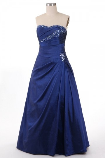 robe de gala bleu princesse grande taille bustier coeur orné de strass