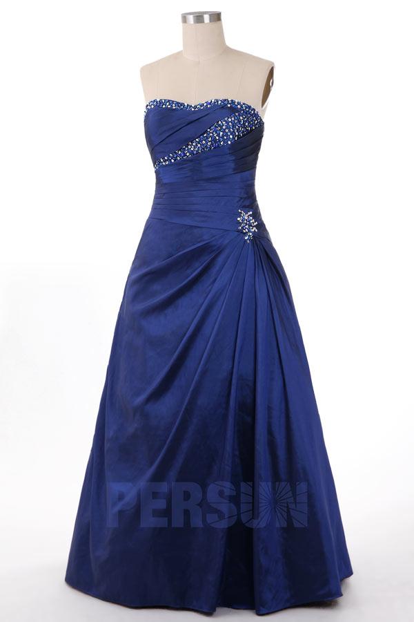 robe de soirée princesse bleu marine bustier plissé embelli de strass