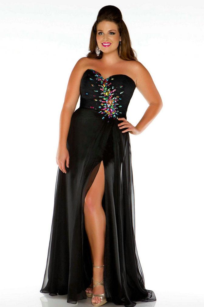 profiter de prix bas clair et distinctif vraie affaire Sexy robe longue de soirée noire fendue grande taille strass ...