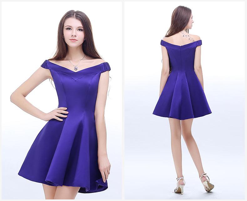 robe de soirée bleu simple pour mariage en satin