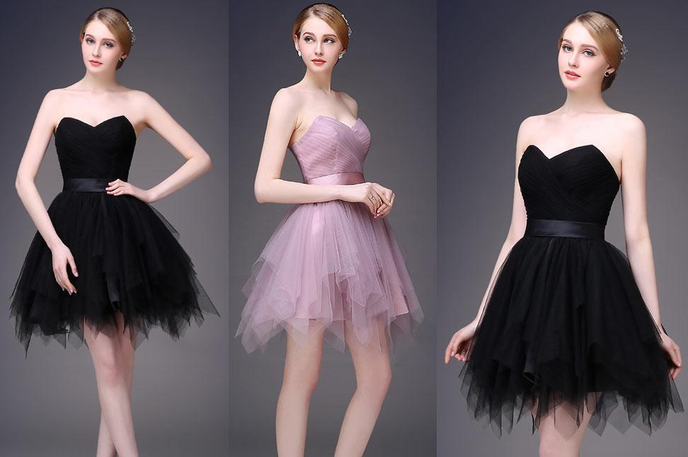 chic robe de bal courte bustier coeur à jupe évasée en noir / violette