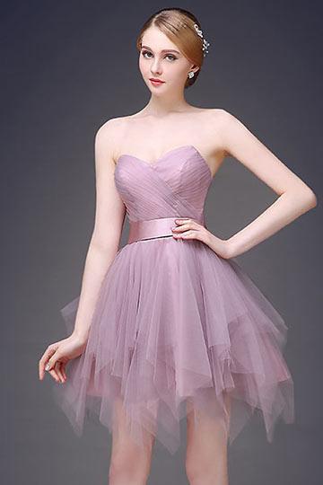 mini robe violette bustier coeur jupe évasée pour mariage