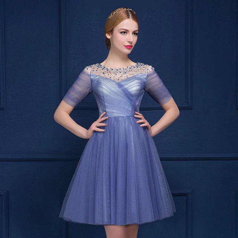 robe de gala bleu courte en tulle