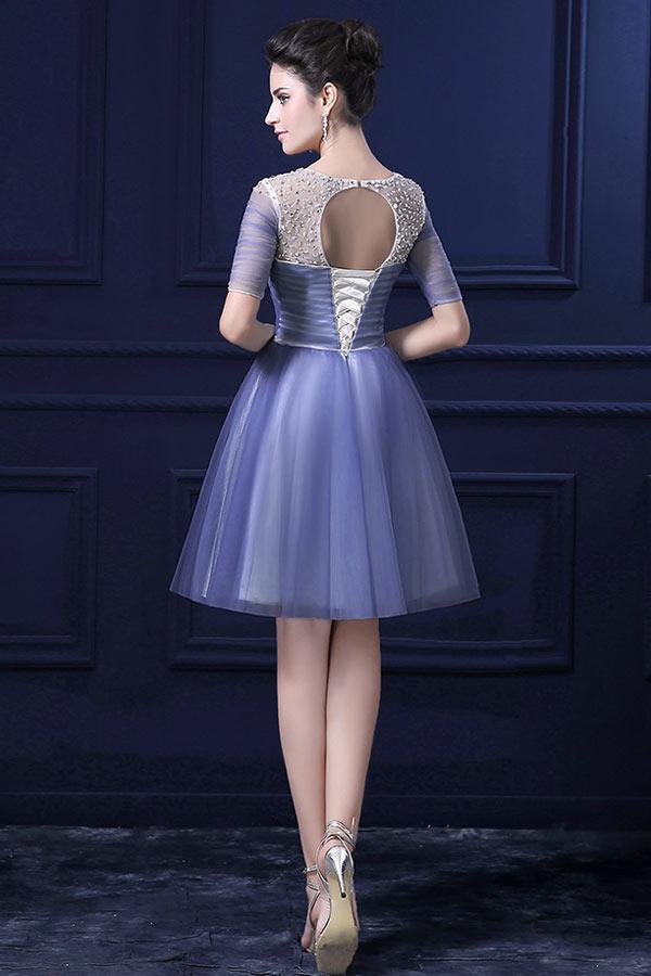 robe de soirée courte avec manche dos découpé
