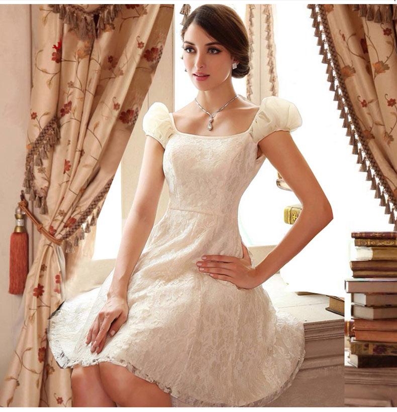 robe Cérémonie crème courte dentelle